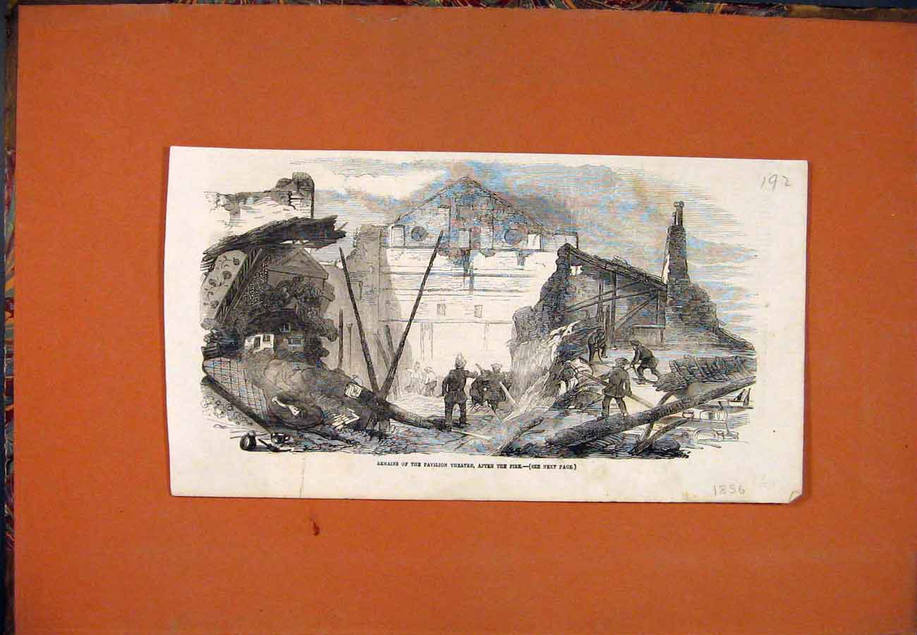 Print Pavilion Theatre Ruins Fire Remains 1856 927761 Old Original