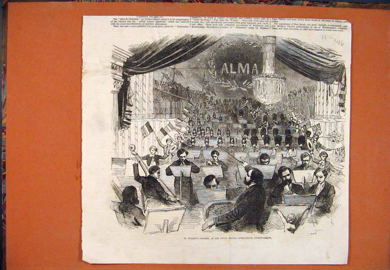 Print Jullien Concert Royal Italian Opera Covent Garden 1855 967761 Old Original
