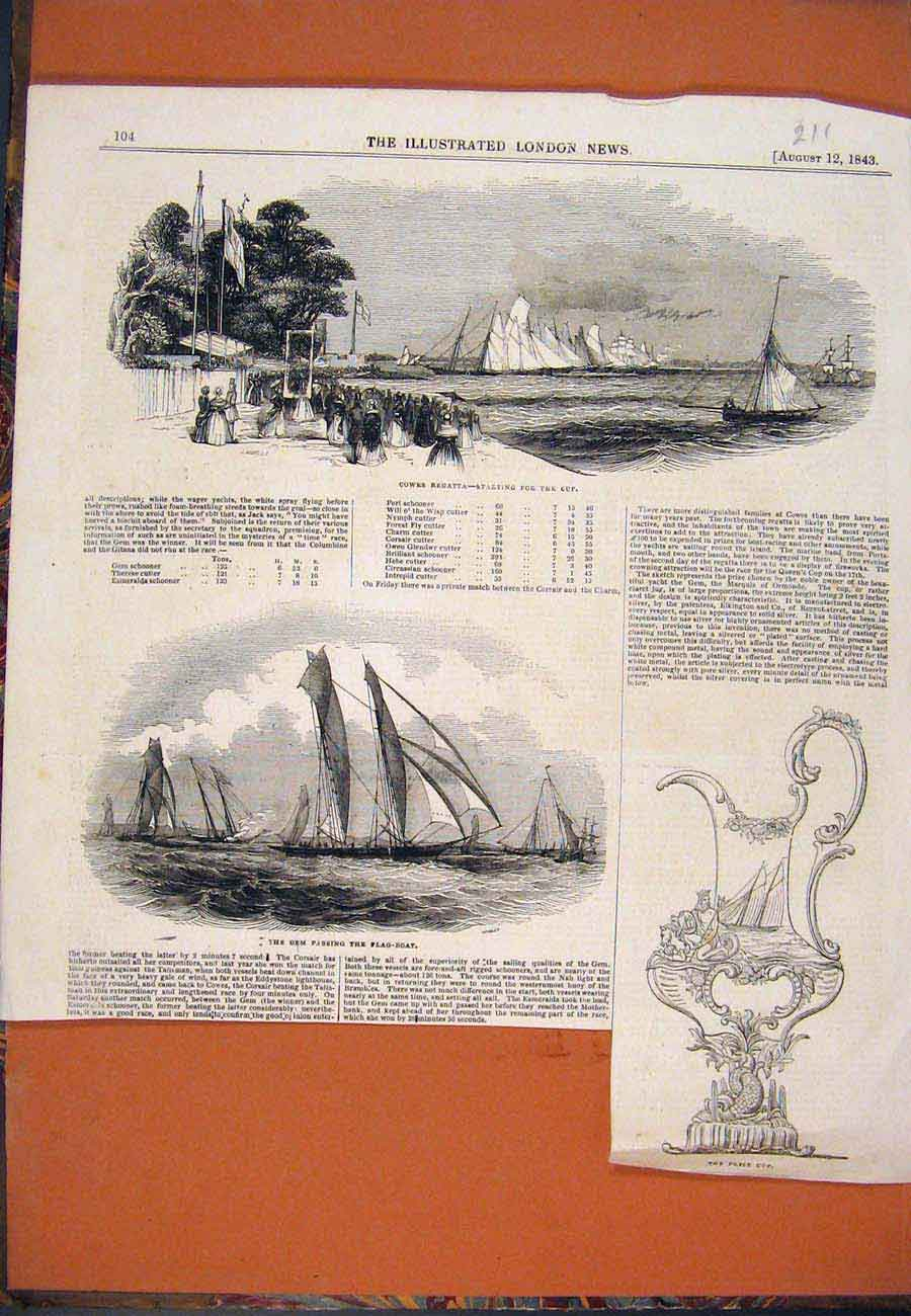 Print Cowes Regatta Gem Yacht Prize Cup Boats 1843 117761 Old Original