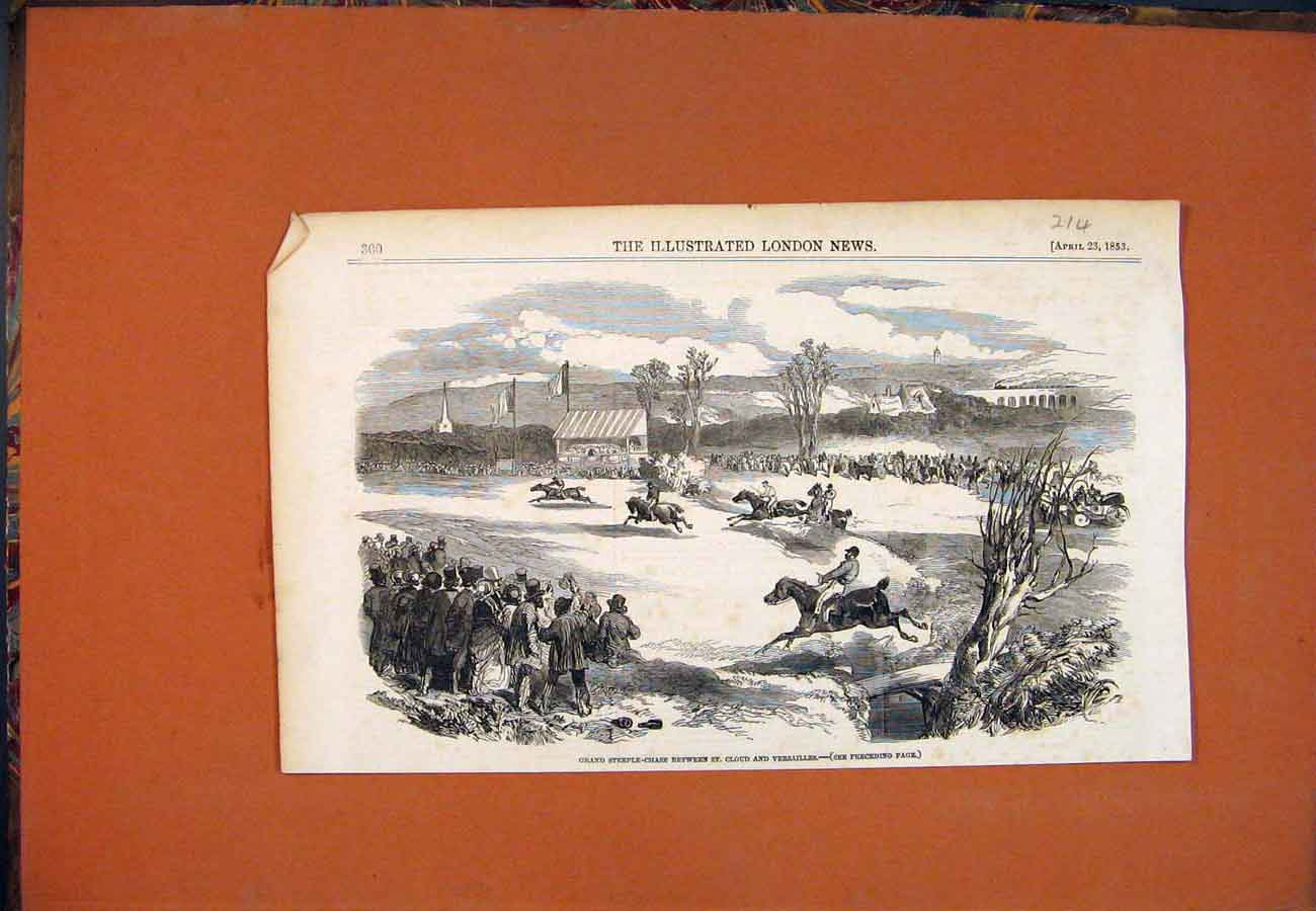 Print Steeple-Chase St Cloud Versailles Horses 185 147761 Old Original