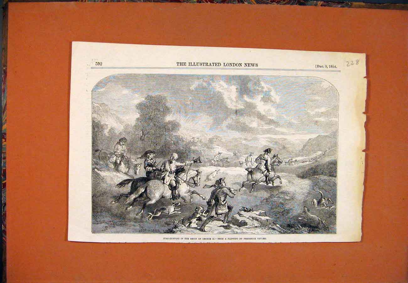 Print Stag Hunting George Tayler Hounds Horses Fine Art 1854 287761 Old Original