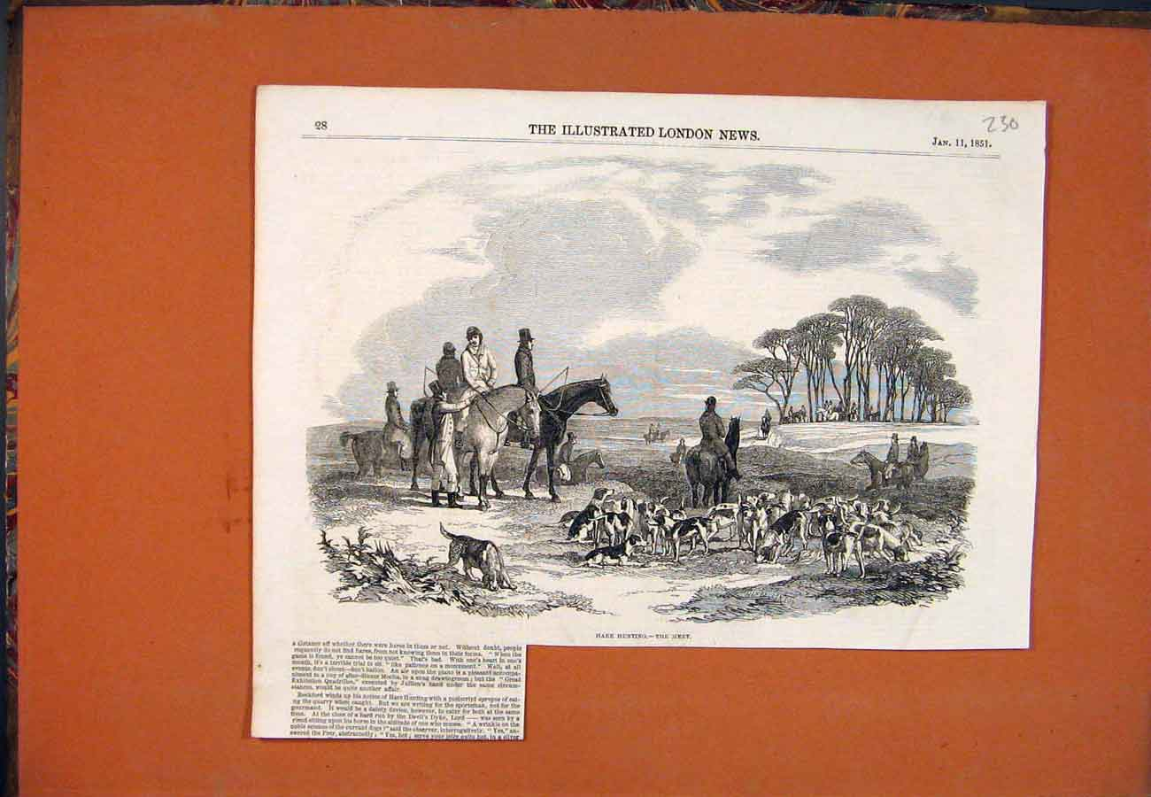 Print Hare Hunting Meet Hounds Horses 1851 307761 Old Original