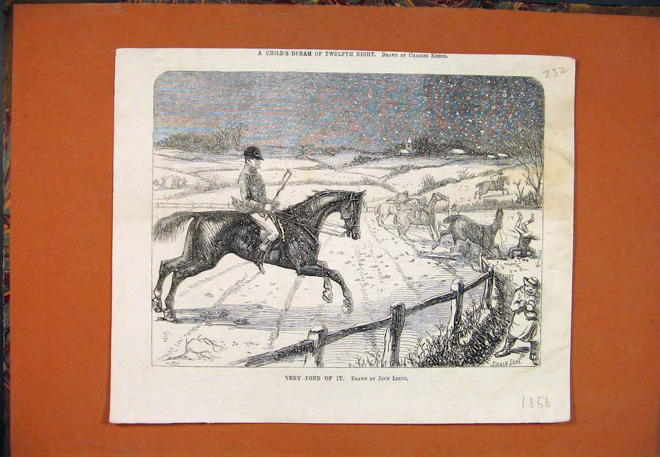 Print Very Fond Leech Horse Snow Jump Hunt 1854 327761 Old Original