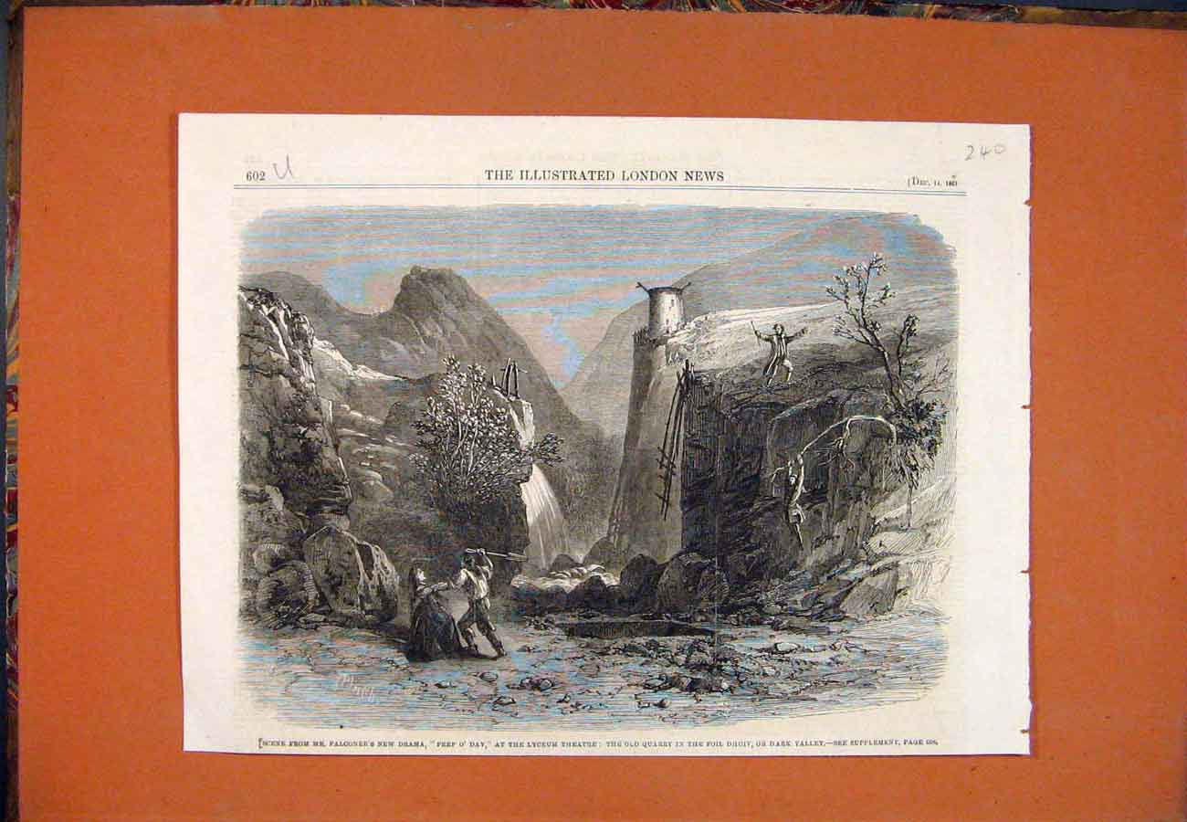 Print Scene Falconer Drama Lyceum Theatre Quarry Valley 1861 407761 Old Original