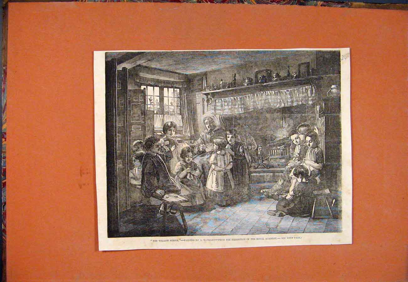 Print Village School Rankley Royal Academy Fine Art 437761 Old Original