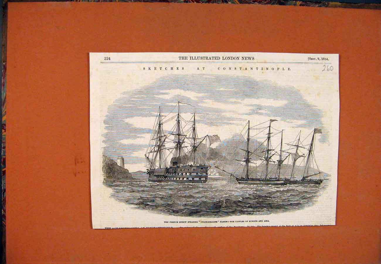 Print Sketches Constantinople French Steamer Charlemagne 1854 607761 Old Original