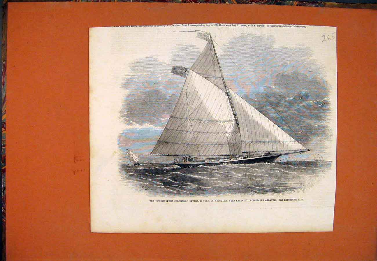 [Print Christopher Columbus Cutter Webb Atlantic 657761 Old Original]