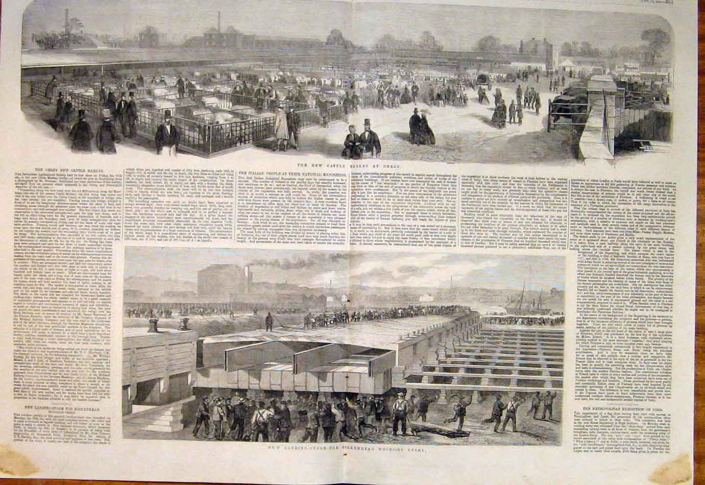 Print 1861 Cattle Market Derby Birkenhead Woodside Ferry 027761 Old Original