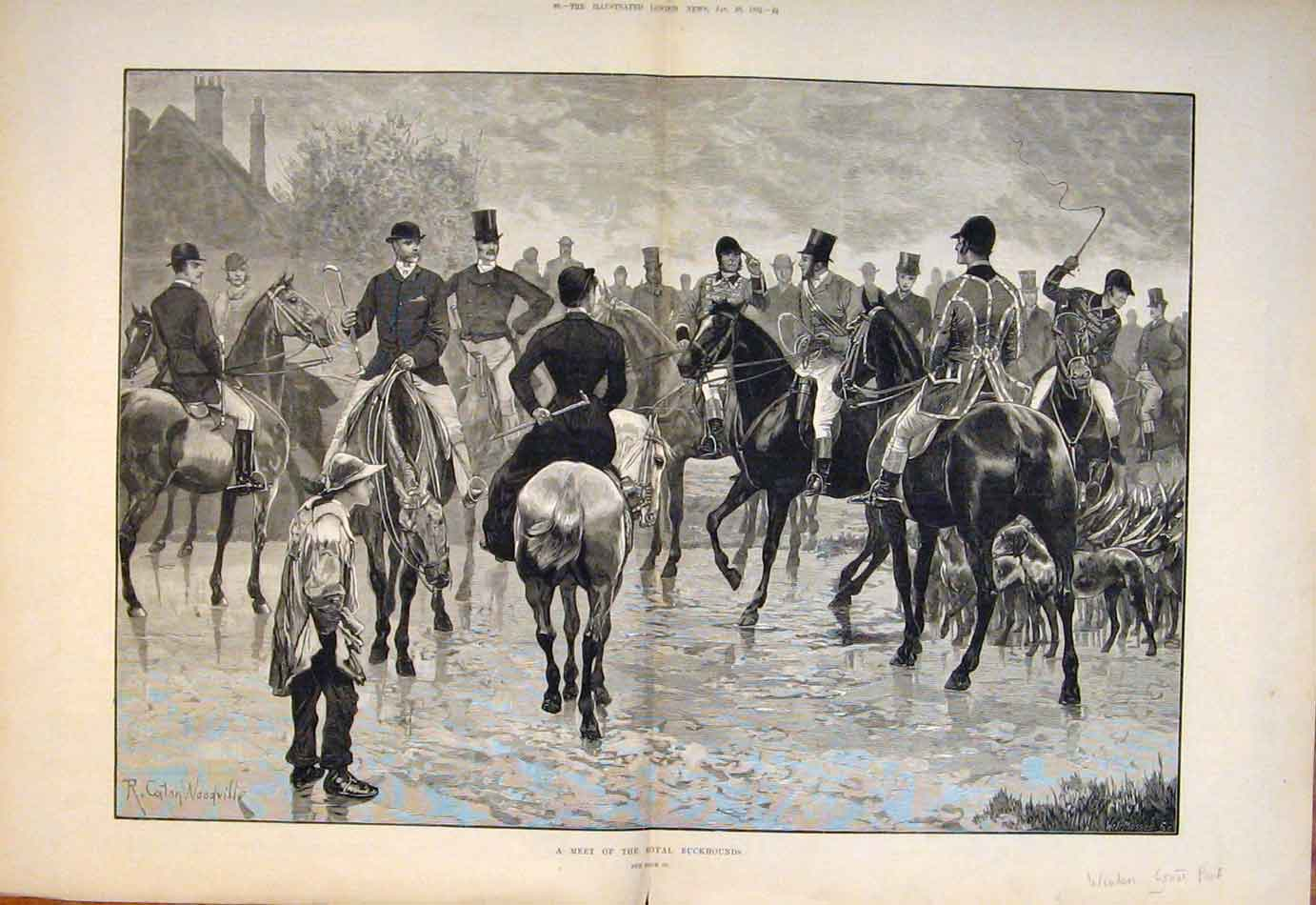 Print 1882 Hunt Meet Royal Buckhounds Windsor Park 187761 Old Original