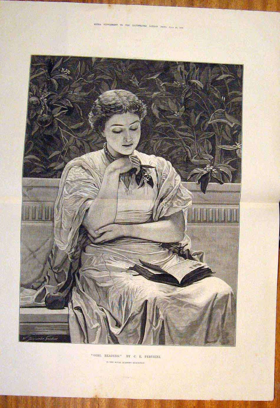 Print 1878 Girl Reading Perugini Garden Fine Art 207761 Old Original