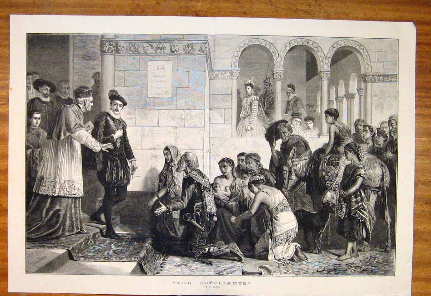Print Suppliants Long Priest Gentleman People Fine Art 287761 Old Original