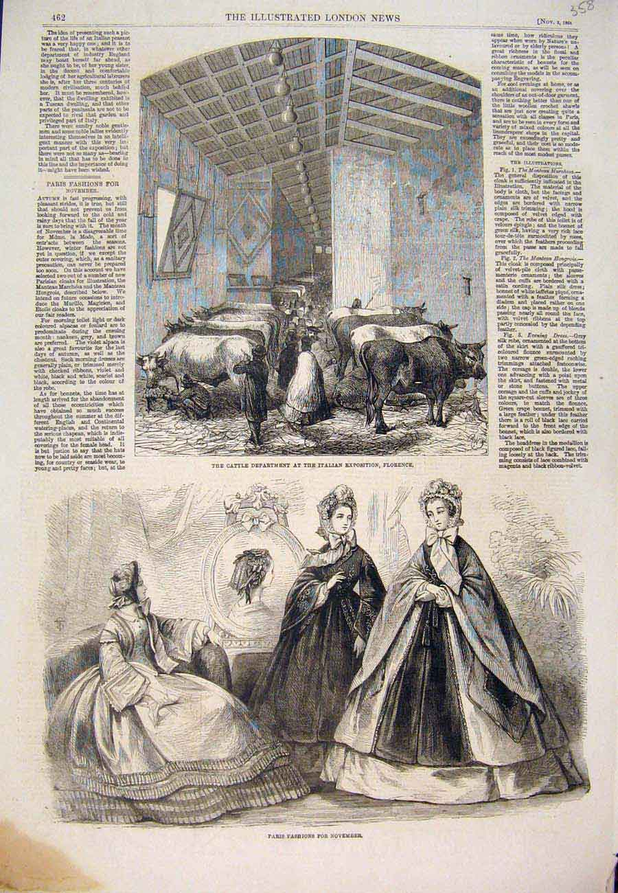 Print Cattle Italian Exposition Florence Paris Fashions 1861 587761 Old Original