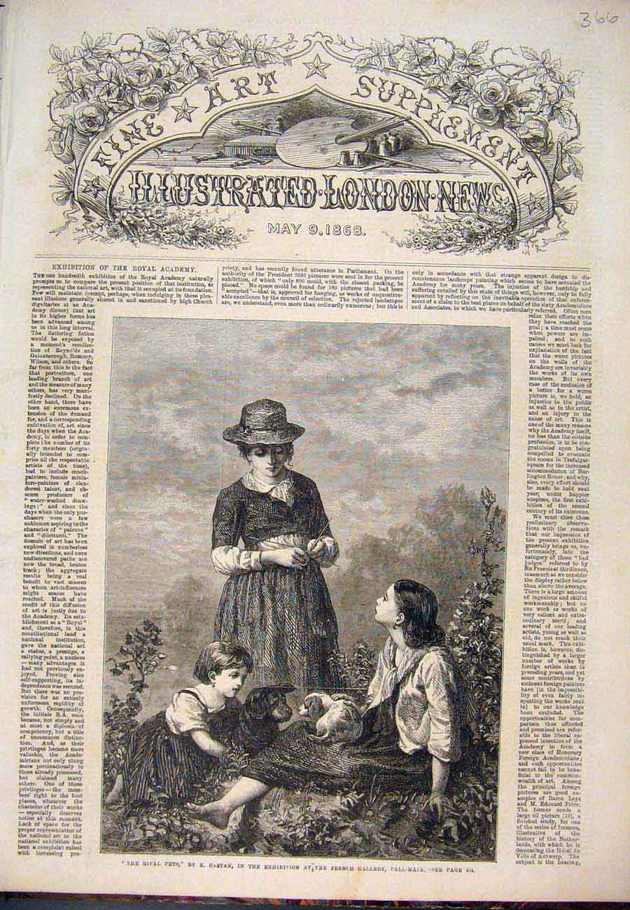 Print Pets Castan Dog Puppy Child Lady Fine Art 1868 667761 Old Original