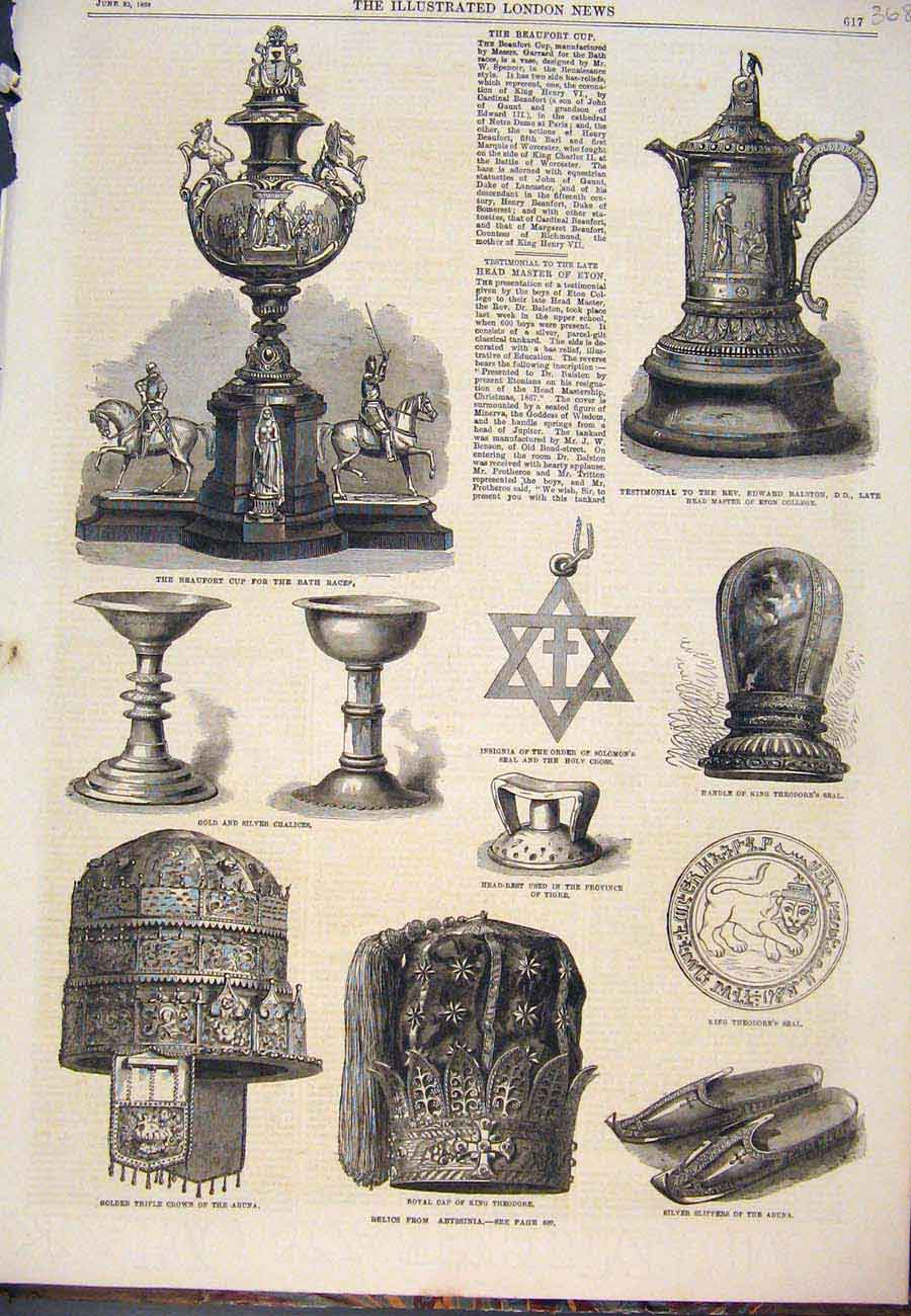 Print Beaufort Cup Races Chalice Seal Crown Abysinnia 1868 687761 Old Original