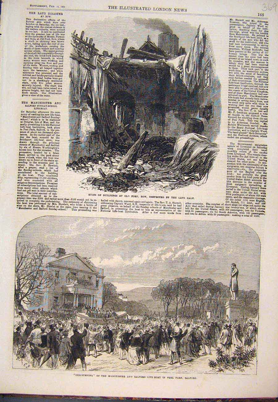 Print Ruins Building Bow Manchester Salford Life-Boat 1868 697761 Old Original