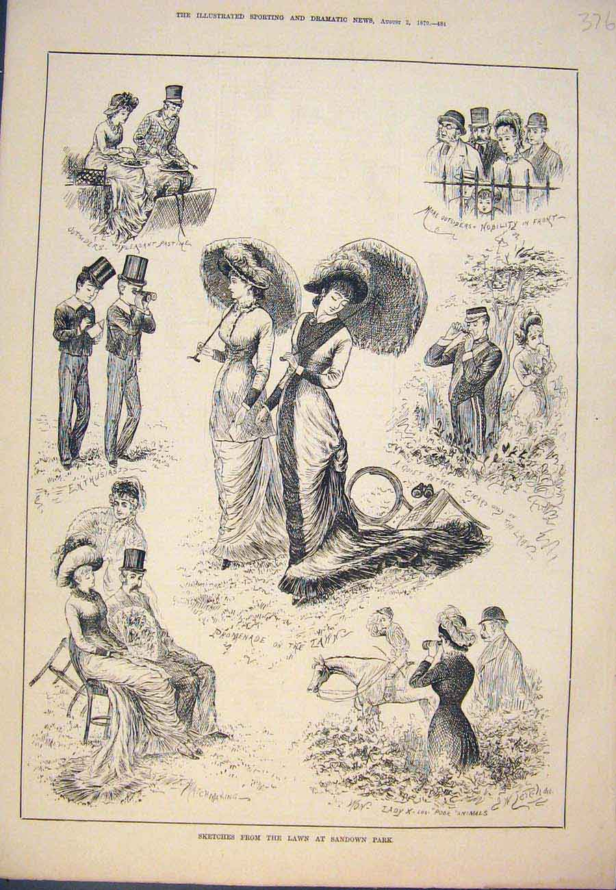 Print Sketches Lawn Sandown Park Ladies Promenade 1879 767761 Old Original