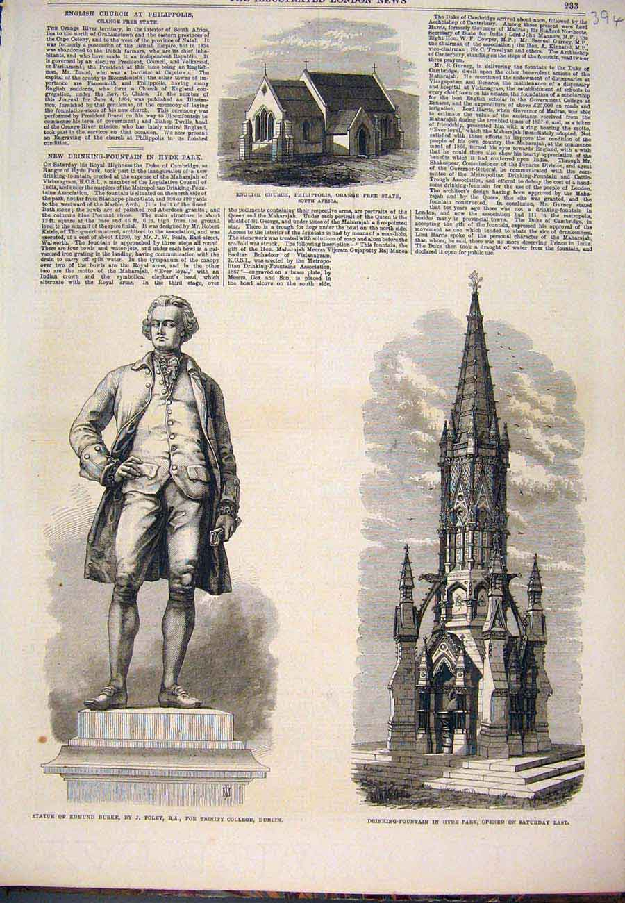 Print Church Africa Burke Foley Dublin Fountain Hyde 1868 947761 Old Original