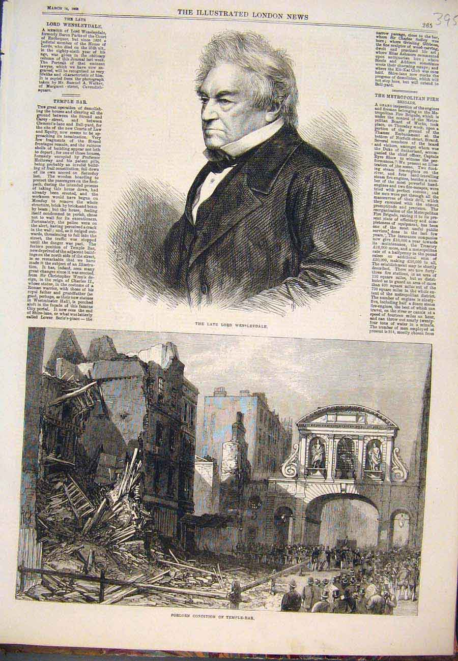 Print Prtrait Wensleydale Temple Bar Ruins 1868 957761 Old Original