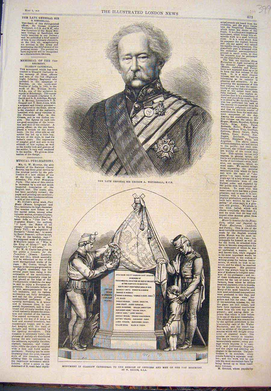 Print Wetherall Governor Monument Brodie Glasgow 1868 997761 Old Original