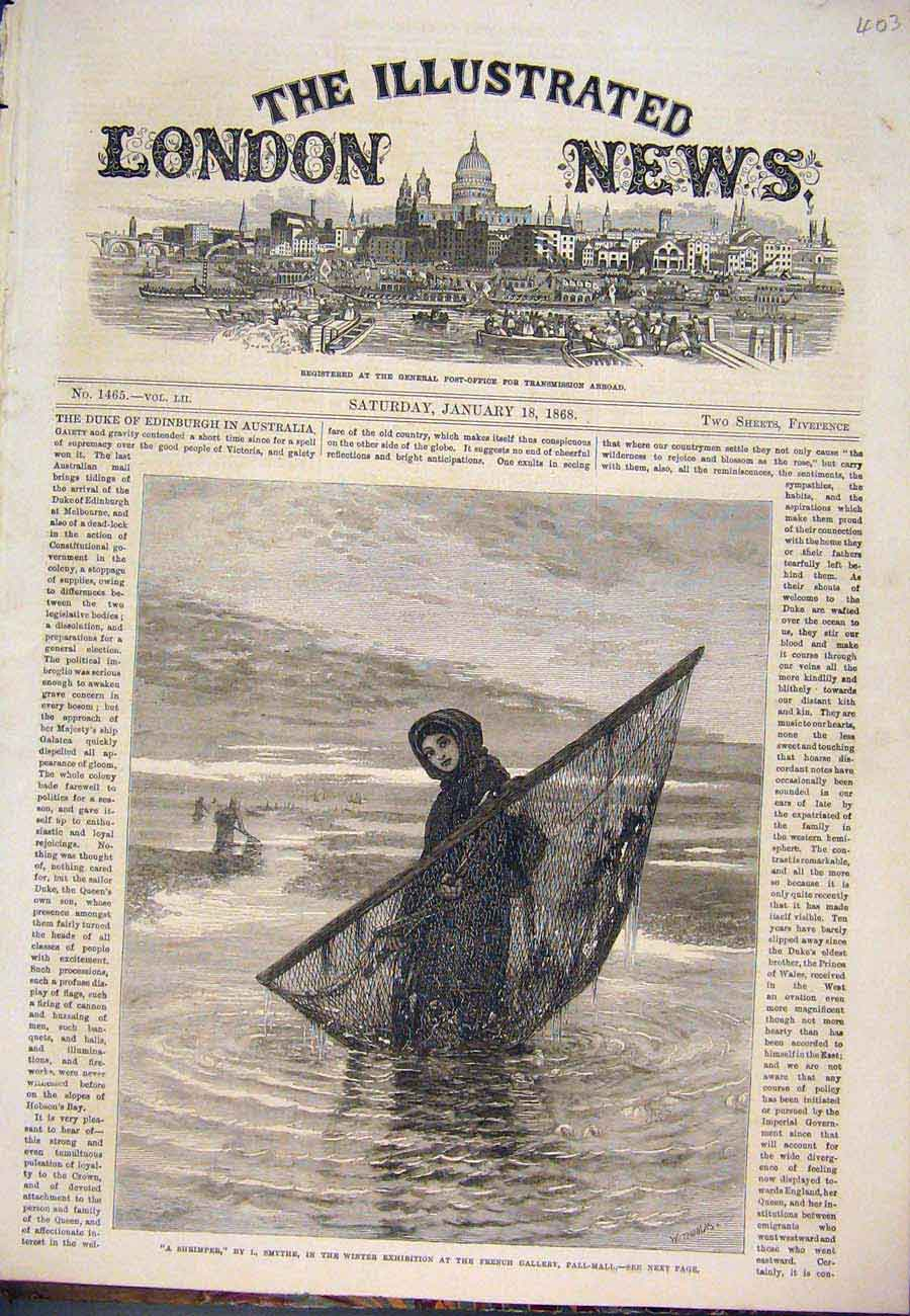 Print Shrimper Smythe Pall Mall Exhibition Girl Fine Art 1868 037761 Old Original