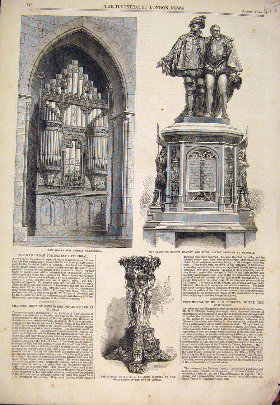 Print Organ Bomboay Cathedral Brussels Egmont Horn 1865 157761 Old Original