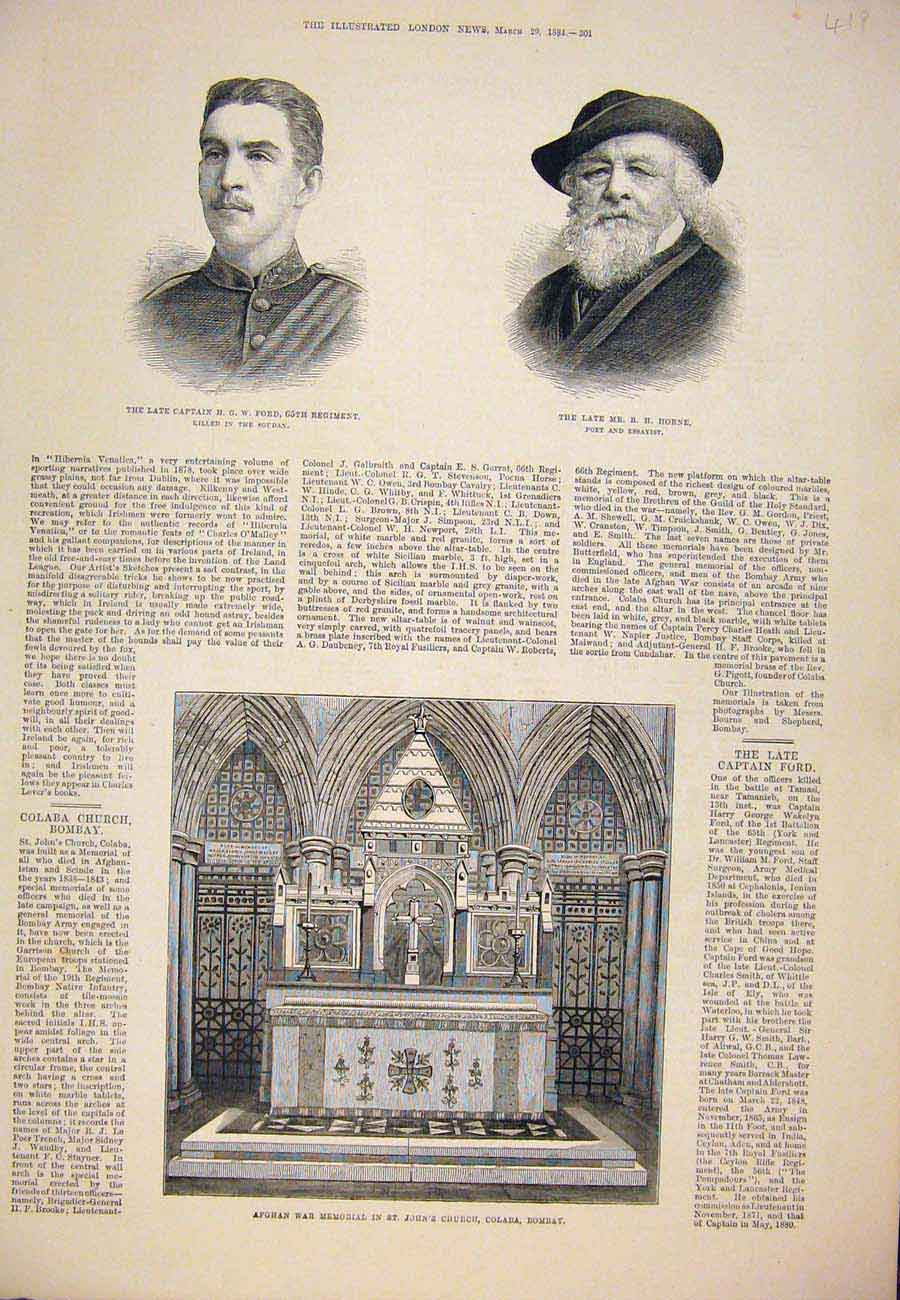 Print Portrait Ford Horne Afghan War Memorial Bombay 1884 197761 Old Original
