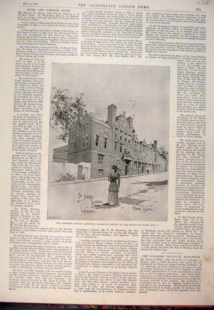 Print 1894 Soldier'S Church Institute Woolwich Trincham 287761 Old Original