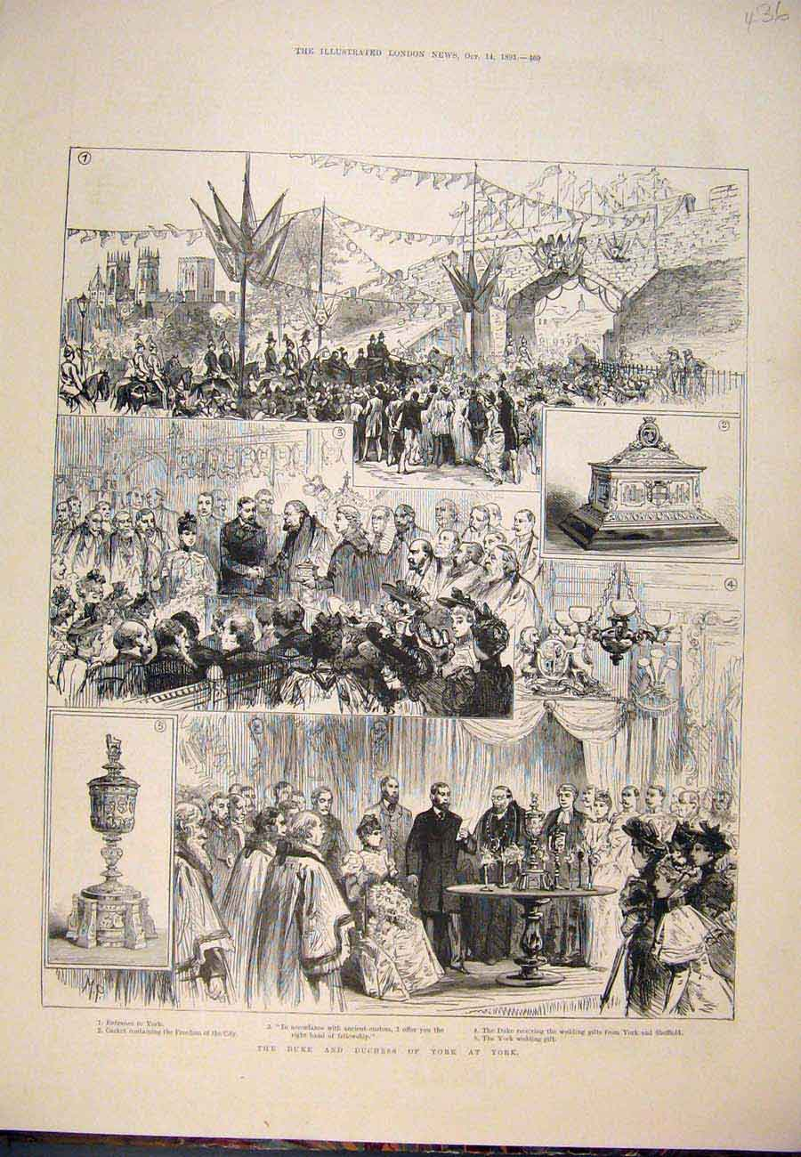Print 1893 Duke Duchess York Sketches Freedom City 367761 Old Original