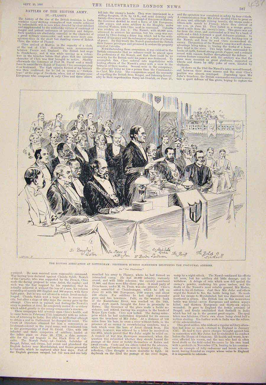 Print 1893 British Association Nottingham Sanderson Mayor 377761 Old Original