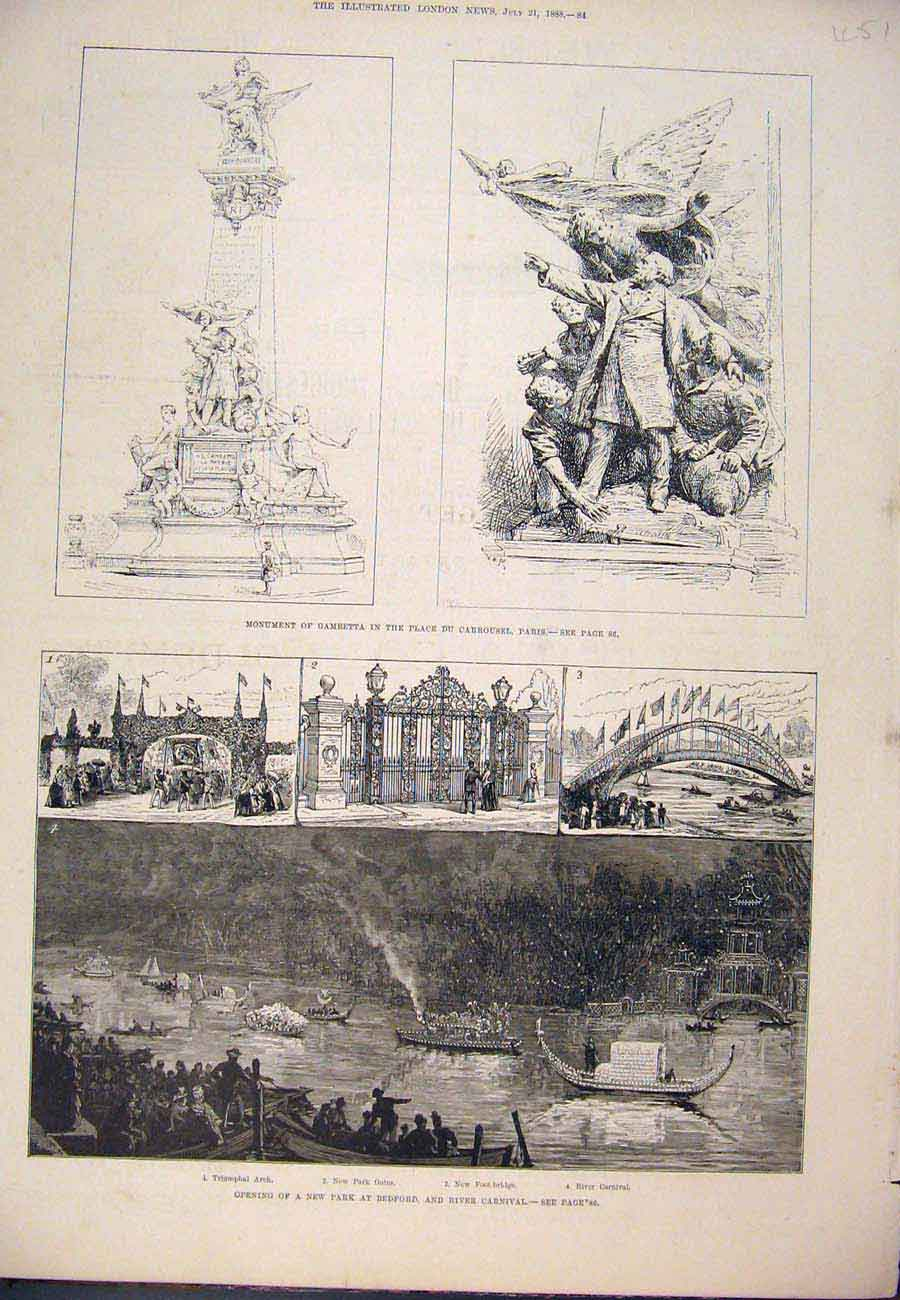 Print 1888 Monument Gambetta Paris France Bedford Carnival 517761 Old Original