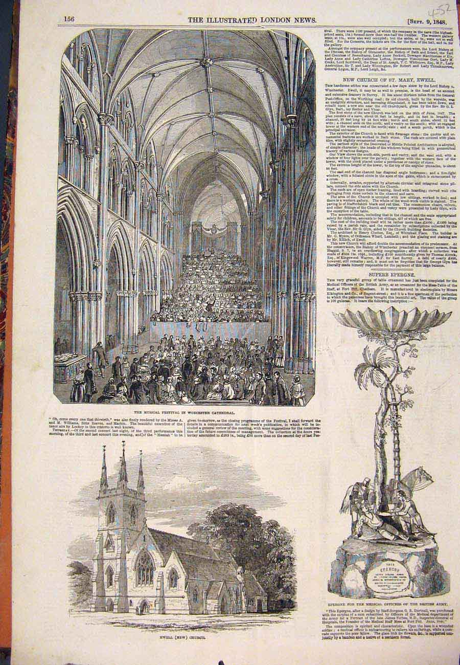 Print 1848 Worcester Cathedral Festival Ewell Church Epergne 527761 Old Original