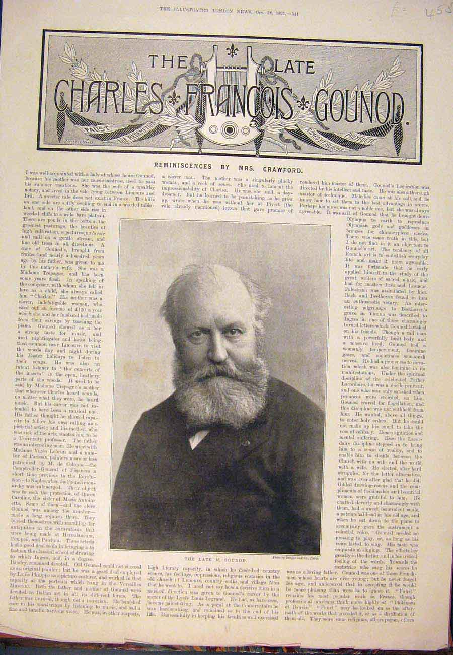 Print 1893 Portrait Gounod Composer French France 557761 Old Original