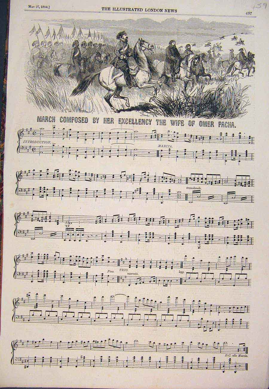 Print 1854 March Music Score Sheet Omer Pacha 597761 Old Original