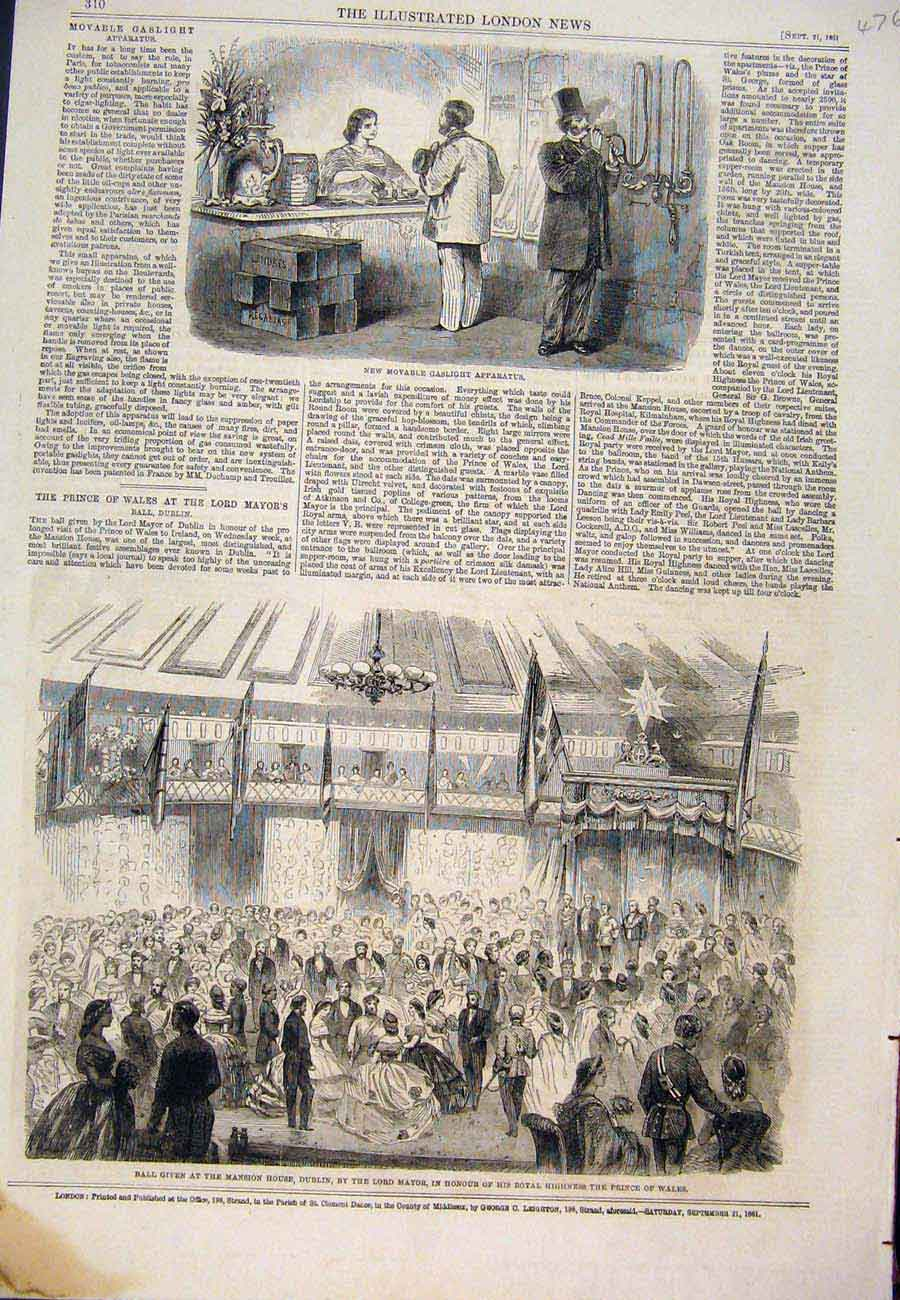 Print 1861 Gaslight Apparatus Ball Mansion House Mayor Dublin 767761 Old Original