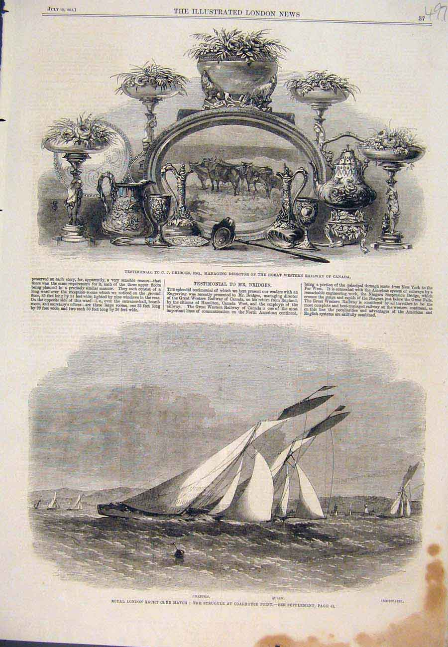 Print 1861 Bridges Railway Canada Royal Club Yacht Match 977761 Old Original