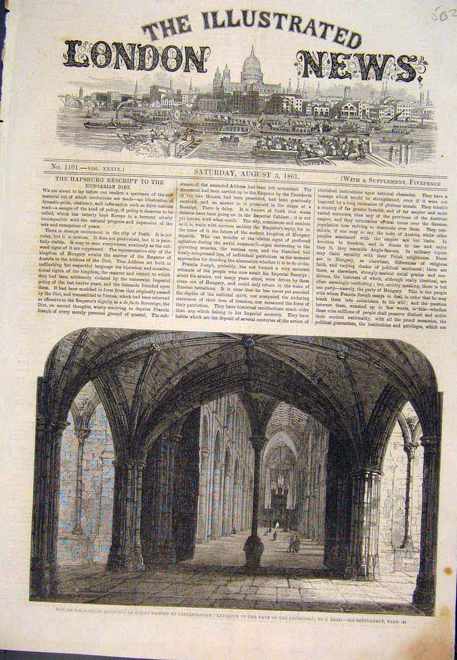 Print 1861 Peterborough Nave Cathedral Read Fine Art 027761 Old Original