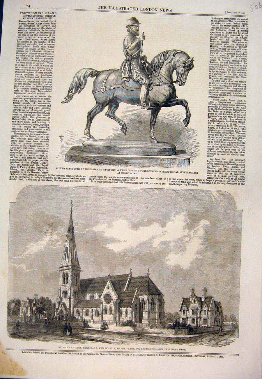 Print 1861 Statue Baden William Church School Stamford Hill 067761 Old Original