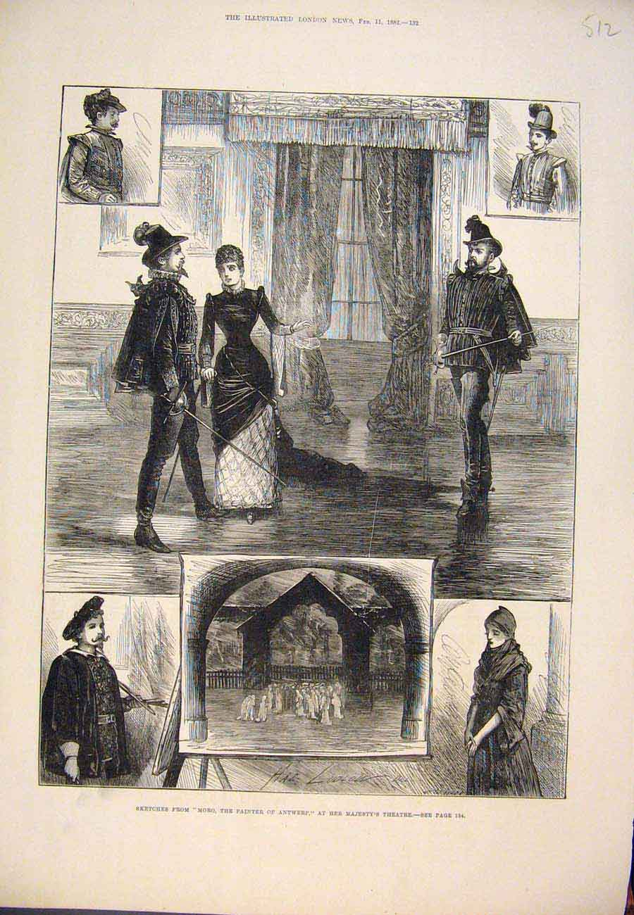 Print 1882 Sketches Moro Antwerp Majesty'S Theatre London 127761 Old Original