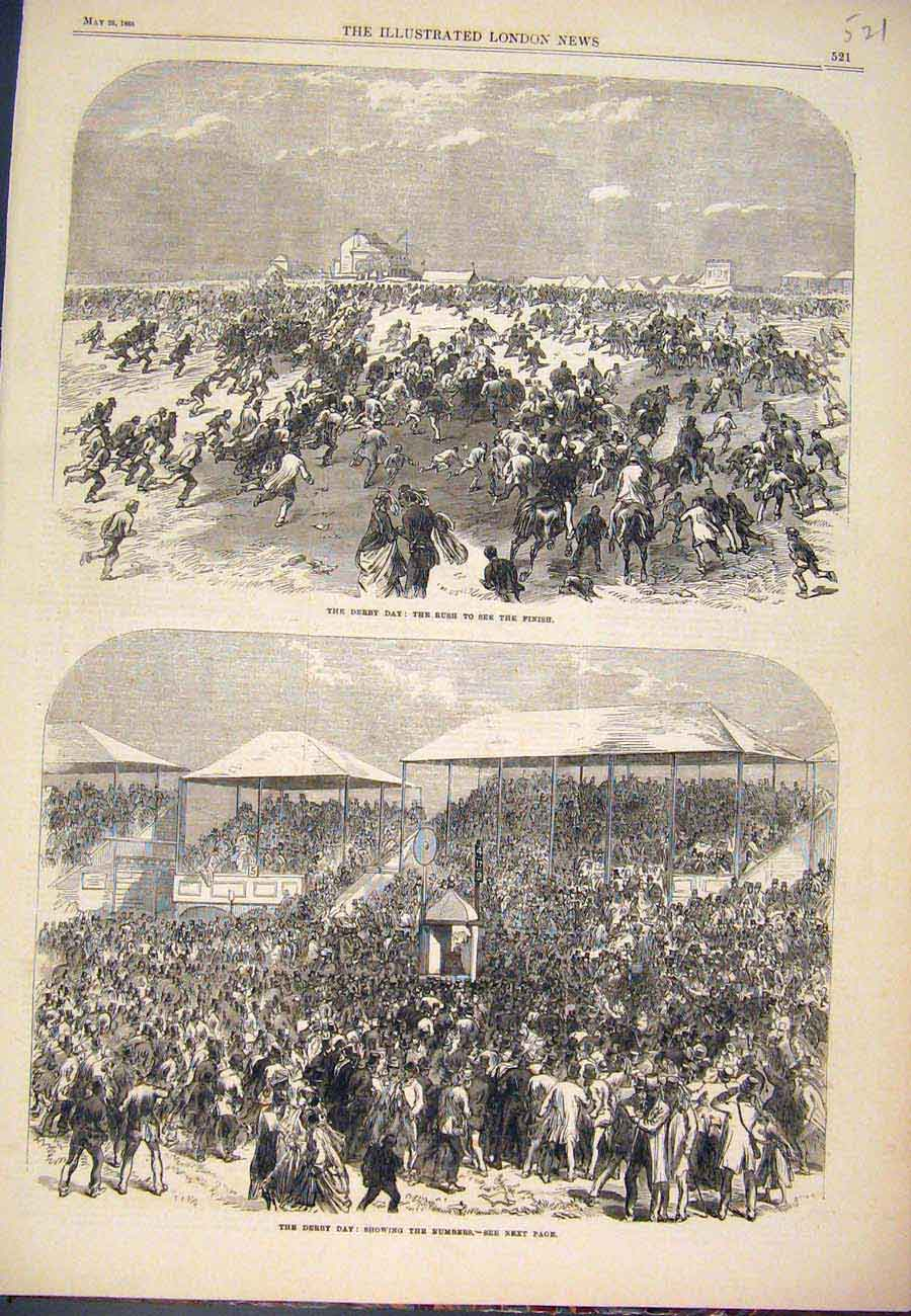 Print 1866 Derby Day Races Horse Racing Crowds 217761 Old Original