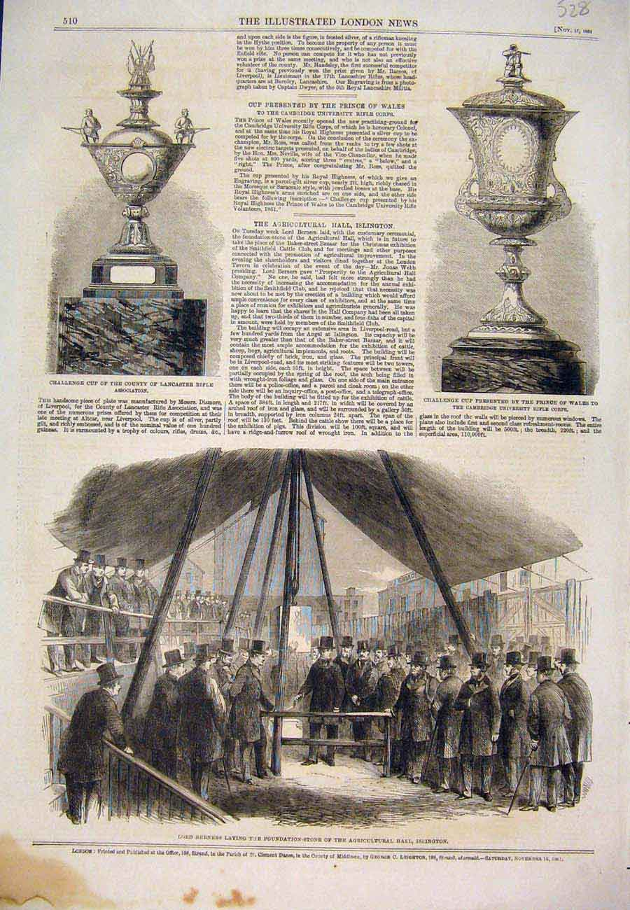 Print 1861 Challenge Cup Rifle Berners Agricultural Islington 287761 Old Original