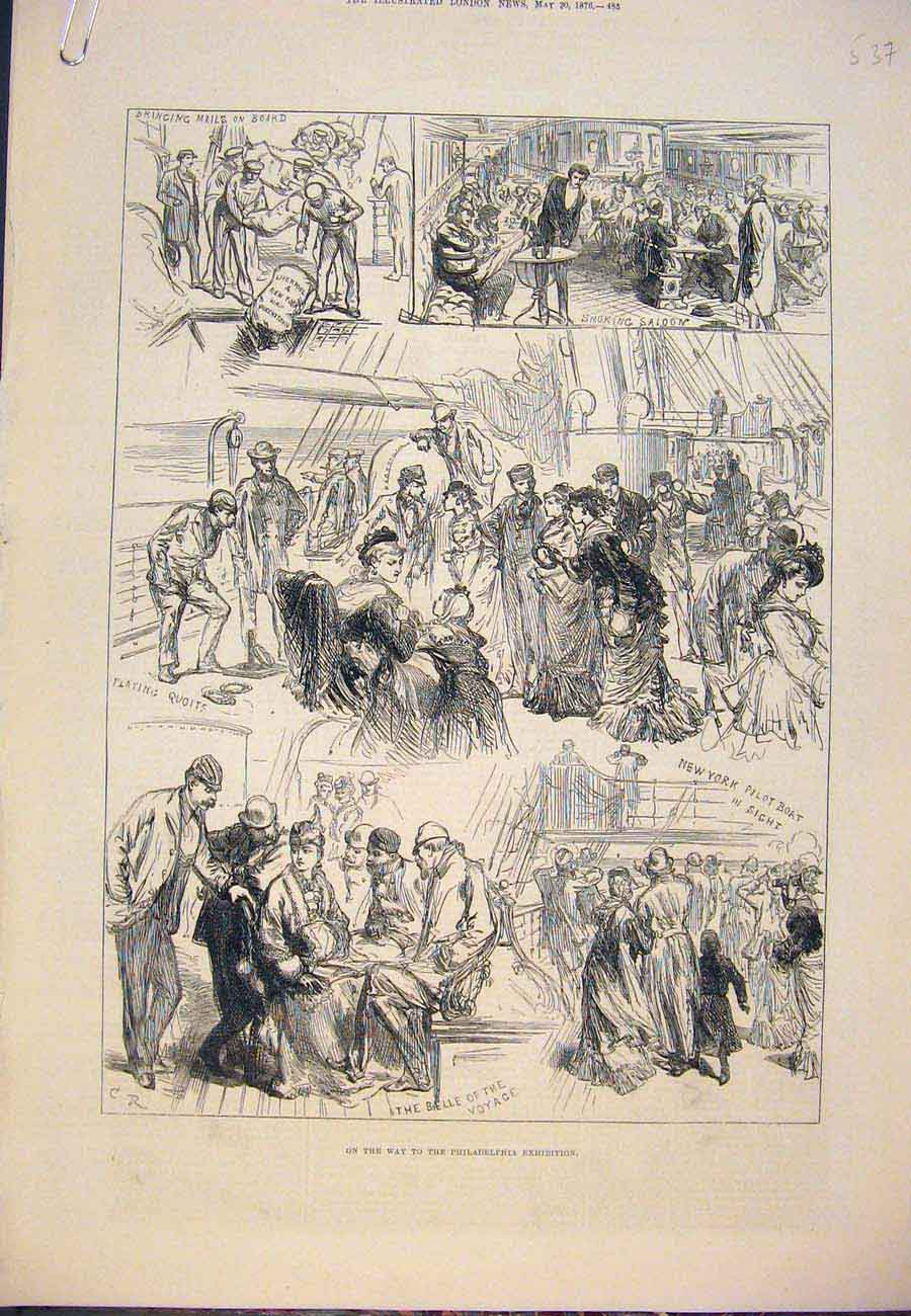 Print Philadelphia Exhibition Sketches Boat 1876 37A7761 Old Original