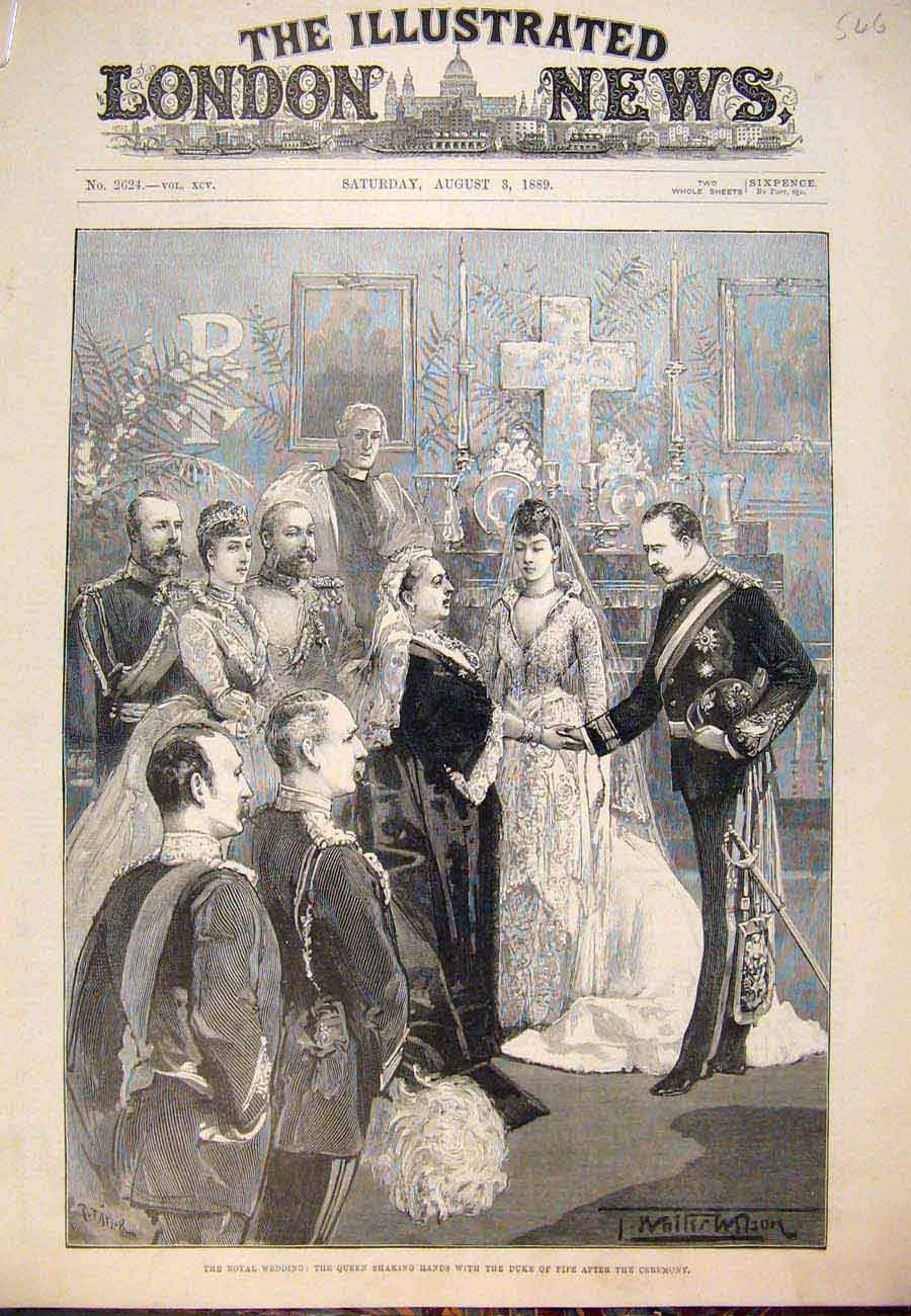 Print 1889 Royal Wedding Duke Fife Princess Louise Presents 46A7761 Old Original