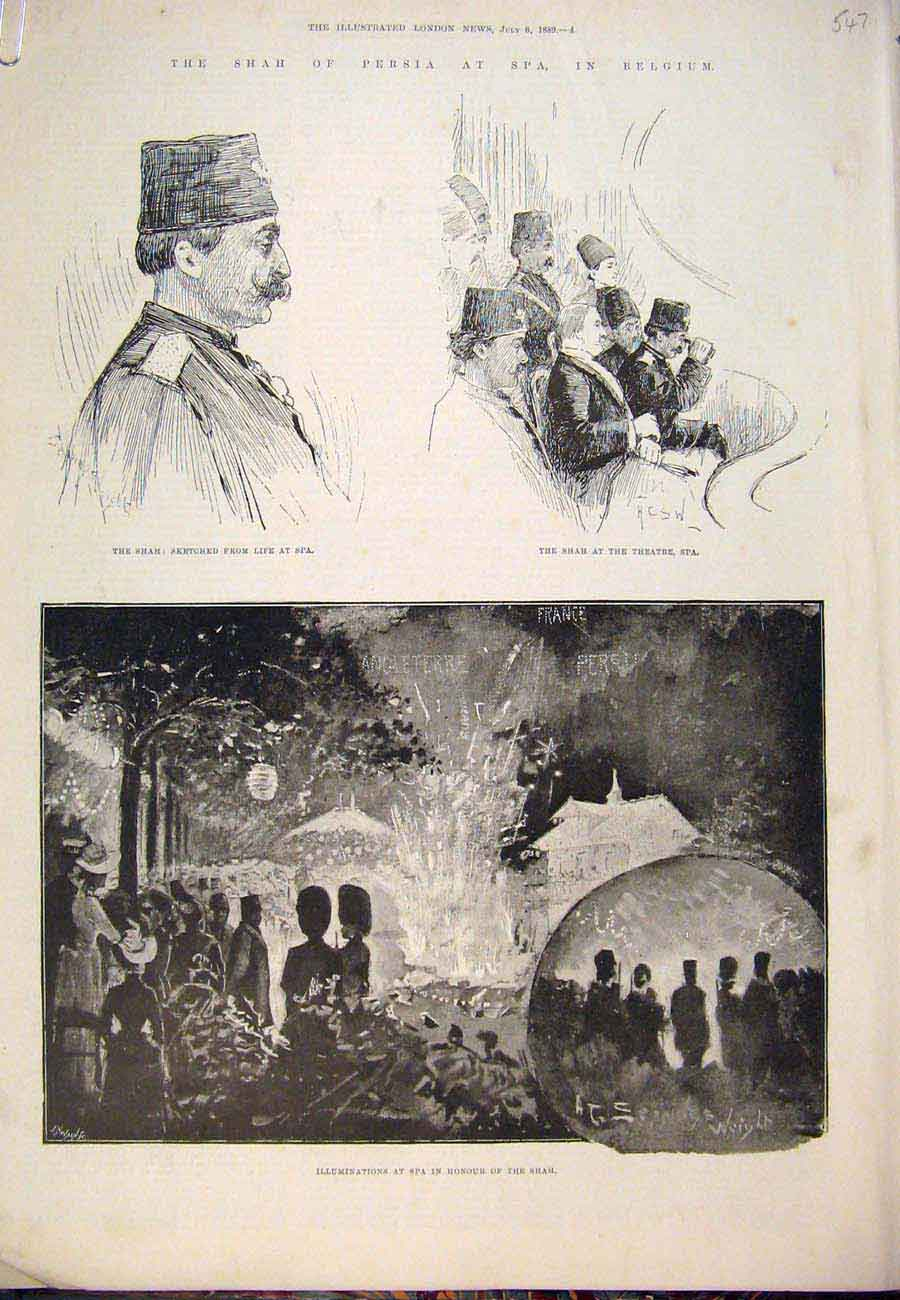 Print 1889 Shah Persia Spa Belguim Theatre Royal Yacht 47A7761 Old Original