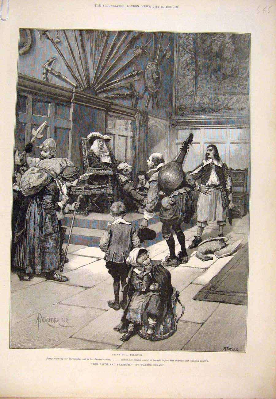 Print 1888 Forestier Besant Faith Freedom Fine Art 55A7761 Old Original