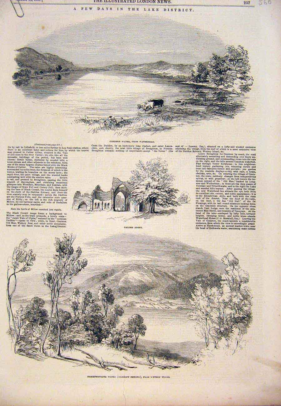 Print 1851 Lake District Coniston Water Allswater Wythop 60A7761 Old Original