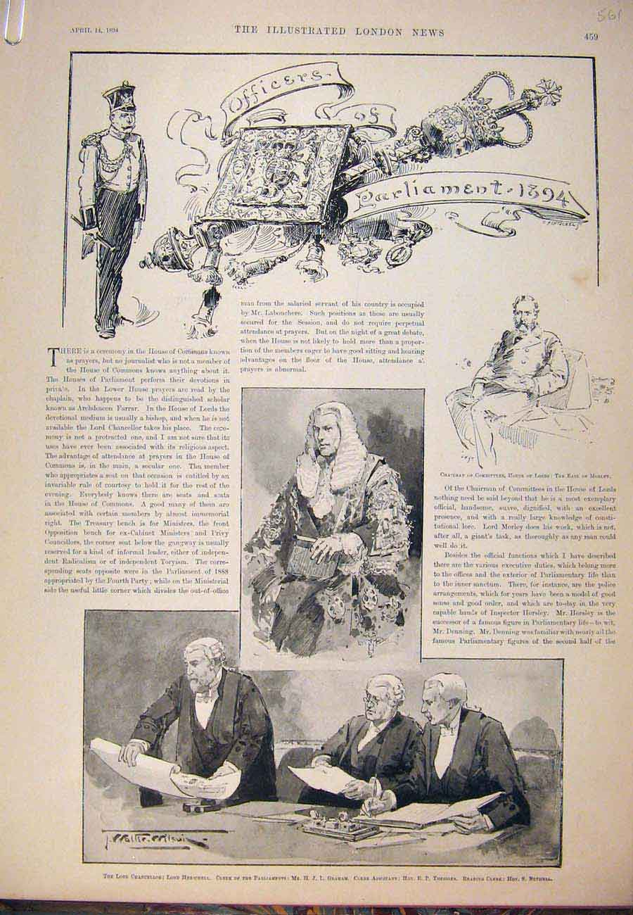 Print 1894 Officers Parliament Lord Chancellor Speaker Clerk 61A7761 Old Original