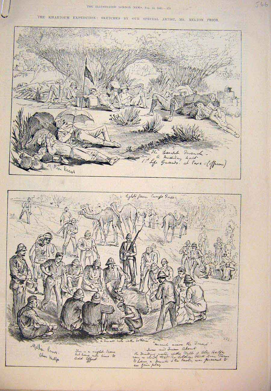Print 1885 Khartoum Expedition Sketches Prior War Soudan 66A7761 Old Original
