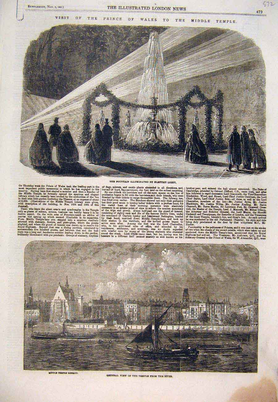 Print 1861 Prince Wales Middle Temple Electric Light Library 72A7761 Old Original
