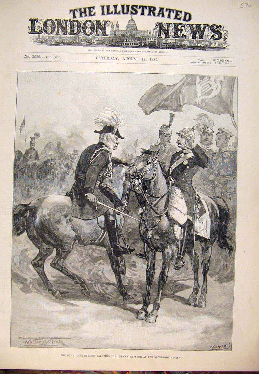 Print 1889 Duke Cambridge German Emperor Aldershot Review 747761 Old Original