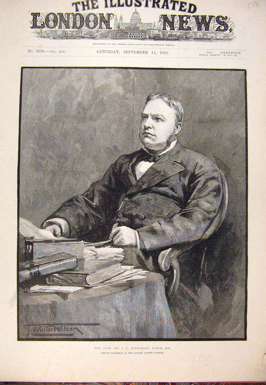 Print 1889 Portrait Bottomley Firth London County Council 767761 Old Original